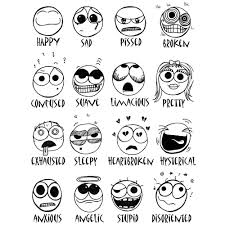 learning adjectives happy face coloring page printable throughout