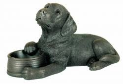 labrador with bowl bronze ornament