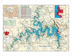 table rock lake map table rock lake map with mile markers table designs