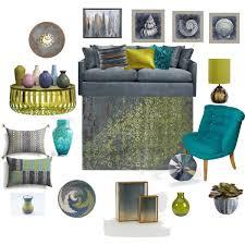 gray teal lime living room Polyvore