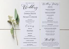 wedding program template wedding program printable wedding program template editable