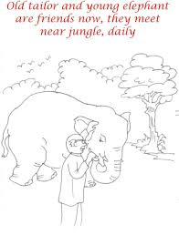 tailor and elephant friendship coloring page for kids