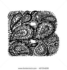 doodles font ornamental flowers letter d stock vector 366684260