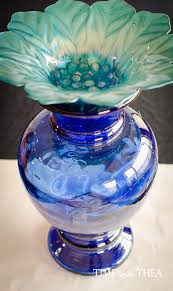 Decorative Glass Stones For Vase Diy Cobalt Blue Glass Vase Birdbath Time With Thea