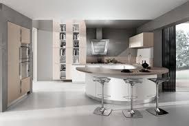 cuisine design blanche cuisine design blanche arrondie avec plan de travail bois bar et