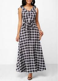 what is a maxi dress plaid print belted v neck maxi dress modlily usd 35 52