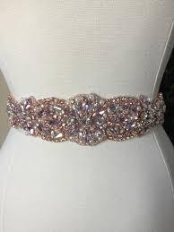 pink and rose gold bridal sash wedding dress sash belt crystal