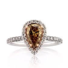 brown diamond engagement ring 1 77ct fancy brown orange yellow pear shaped diamond