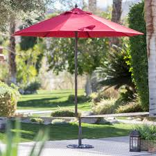 Offset Patio Umbrella With Mosquito Net by Red 7 5 Ft Patio Umbrella With Dark Mahogany Stained Pole