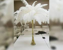 Feather Vase Centerpieces by Gold Ostrich Feather Centerpiece Kits With 24 Gold