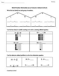 1 oa 4 first grade math common core worksheet missing addends