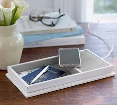 Desk With Charging Station Wireless Charging Station U0026 Catchall With Usb Port Pottery Barn