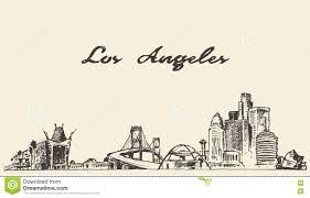 los angeles skyline vector hand drawn sketch stock vector image