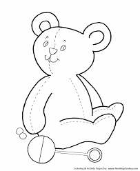 teddy bear coloring pages teddy bear and baby rattle coloring
