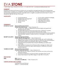 personal resume exles bank financial advisor resume exles templates personal finance