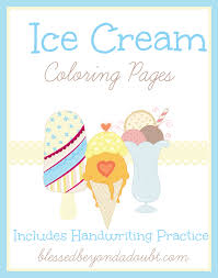ice cream themed coloring pages with handwriting practice