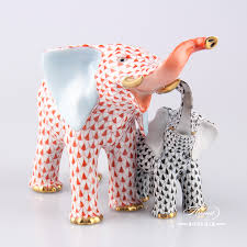 Porcelain Elephant Elephant Mother And Baby Herend Figurines Herend Porcelain Animals