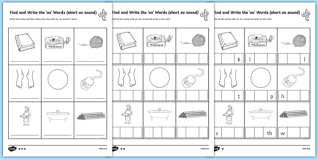 find and write the short oo sound words differentiated activity