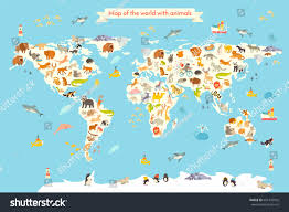 Map Of South America And North America by Map Animal Kid Continent World Animated Stock Vector 601342916