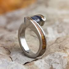 wood engagement rings koa wood engagement ring sapphire in tension setting titanium ring