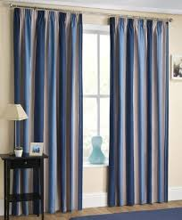 Two Tone Curtains Twilight Striped Print Two Tone Navy Blue 46 X90