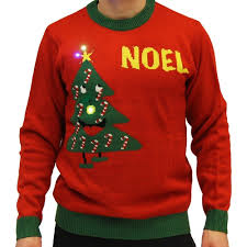 christmas tree sweater with lights noel light up smiling christmas tree red ugly christmas