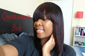 bob quick weave hairstyles quickweave bob with bang youtube