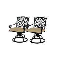 Swivel Rocker Patio Dining Sets Allen Roth Set Of 2 Belthorne Black Seat Aluminum Swivel Rocker