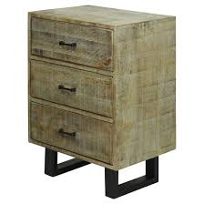 solid mango wood 2 door storage cabinet with scored finish and