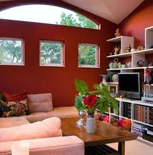 Pink Sectional Sofa Contemporary Living Room With Red Wall And Arched Ceiling And Pink