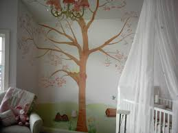 interior design the lush tree with brown colour retro painting