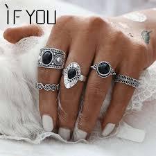 black stone rings images Turkish vintage ring sets 5pcs set antique alloy black stone midi jpeg