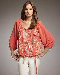 paisley blouse lyst traveler paisley blouse in orange