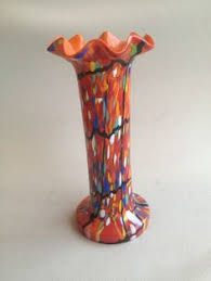 Vintage Orange Glass Vase Kralik Welz Bohemian Czech Art Deco Glass Vase Orange Tango