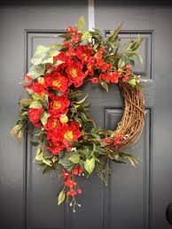 Spring Decoration by Red Spring Wreath Red Decor Red Door Wreaths Spring Decor