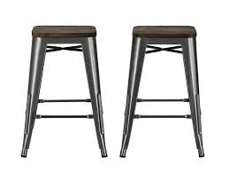amazon com dhp fusion metal backless counter stool with wood seat