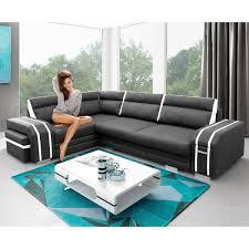 canapé avec pouf canapé angle gauche noir et blanc avec pouf et rangement avatar