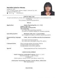 exle of resume resume sle objectives for ojt krida info