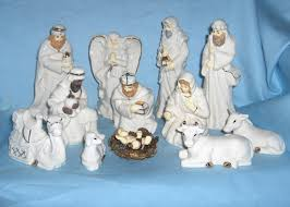 old 13 piece christmas nativity set 1999 home for the holidays