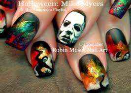 halloween nails diy scary mike myers nail art design tutorial