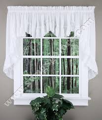 Country Ruffled Valances Vienna Eyelet Embroidered Ruffled Swag Pair U0026 Double Crescent