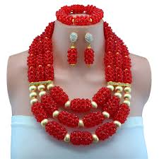 beads wedding necklace images 2017 latest nigerian african beads wedding jewelry set red women jpg