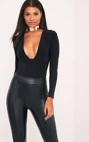 quincy halloween party quincy black slinky plunge longsleeve thong bodysuit tops