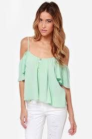 mint blouse mint top the shoulder top mint green shirt 43 00