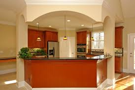 modest kitchen design with spiffy interior brick wall and dining