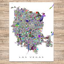 Las Vegas Maps Las Vegas Valley Map Nv Multicolor U2013 Maps As Art