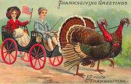 children on thanksgiving postcards