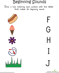 beginning sounds f to j worksheet education com