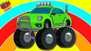 monster truck kids videos kids channel learn colors with hatchbacks monster truck videos