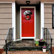 red front door as surprising door design for modern home amaza